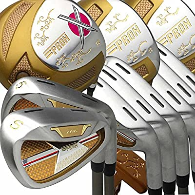 Japan Epron TRG Driver Fairway Wood Iron and Putter Lady Golf Club Set+Leather Cover(Pack of 16,R Flex,Grip Standard)
