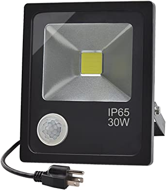 GLW 30W LED Sensor de movimiento Flood luz, luz blanca de día con PIR sensible, IP65 impermeable iluminación exterior, 110V luz de seguridad para patio, almacén, piscina, garaje, camino, valla: Amazon.es: Iluminación