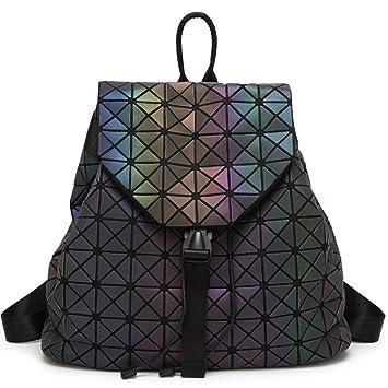 95ea88701723 DIOMO Geometric Lingge Laser Women Backpack Luminous Travel Shoulder Bag  Satchel Rucksack (Luminous NO.1)