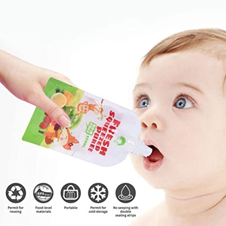 8 Paquetes de Alimentos para bebés Reutilizables Squeeze ...