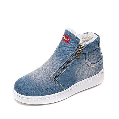974d225baa3b3 Zapatillas Deportivas de Mujer Sneakers Cuña Botines Casual Plataforma Piel  Tacon Medio Invierno Ancho Ankle Boots Zapatos Invierno Calientes  QINGXIA ZI  ...