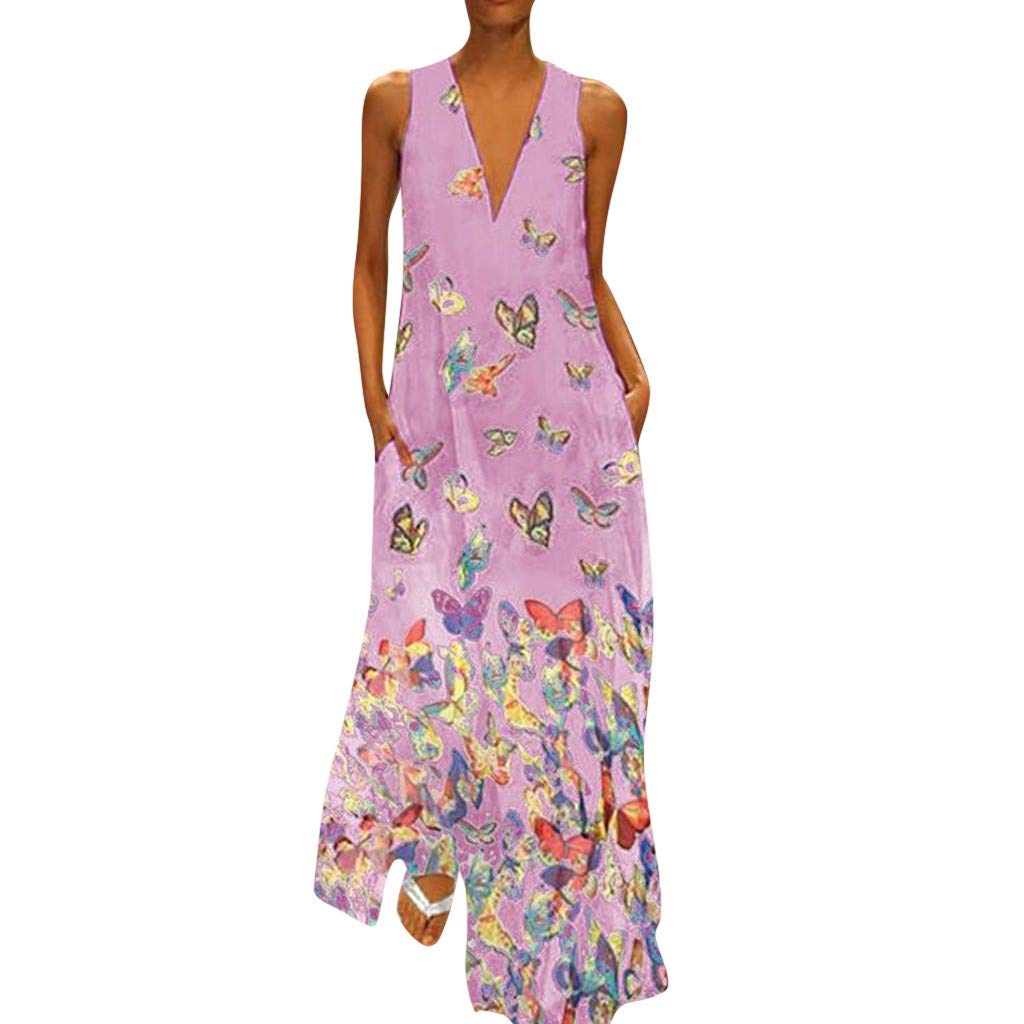 Women Casual Casual Print Dress Sleeveless Loose Party Long Dress Hot Pink by Tootu Dress