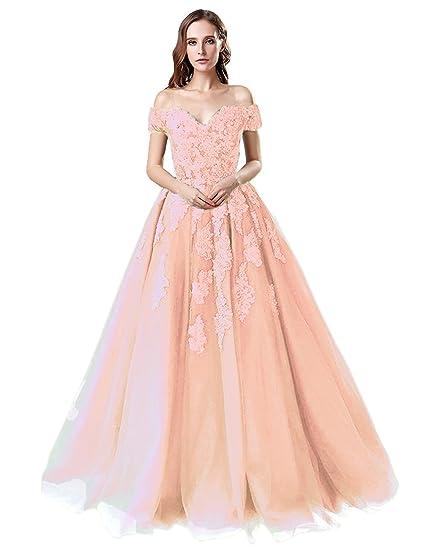 Sarahbirdal Women s Off Shoulder Beaded Applique Prom Dresses Long A-Line  Formal Party Evening Dresses 82df55a23935