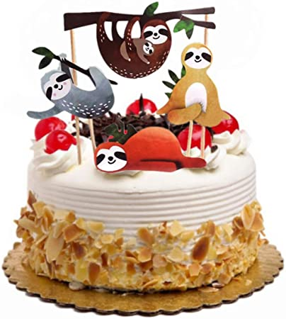 Phenomenal Toyvian Sloth Cake Topper Set Creative Cute Decor Cake Insert Card Personalised Birthday Cards Bromeletsinfo