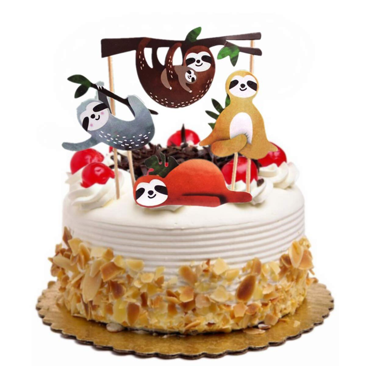 Magnificent Nuobesty 4Pcs Sloth Cake Toppers Animal Birthday Party Fruit Cake Funny Birthday Cards Online Alyptdamsfinfo