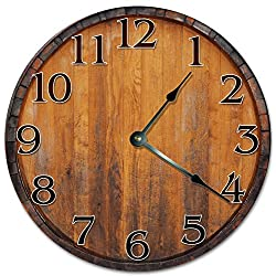10.5 VINTAGE WINE BARREL Clock - Large 10.5 Wall Clock - Home Décor Clock
