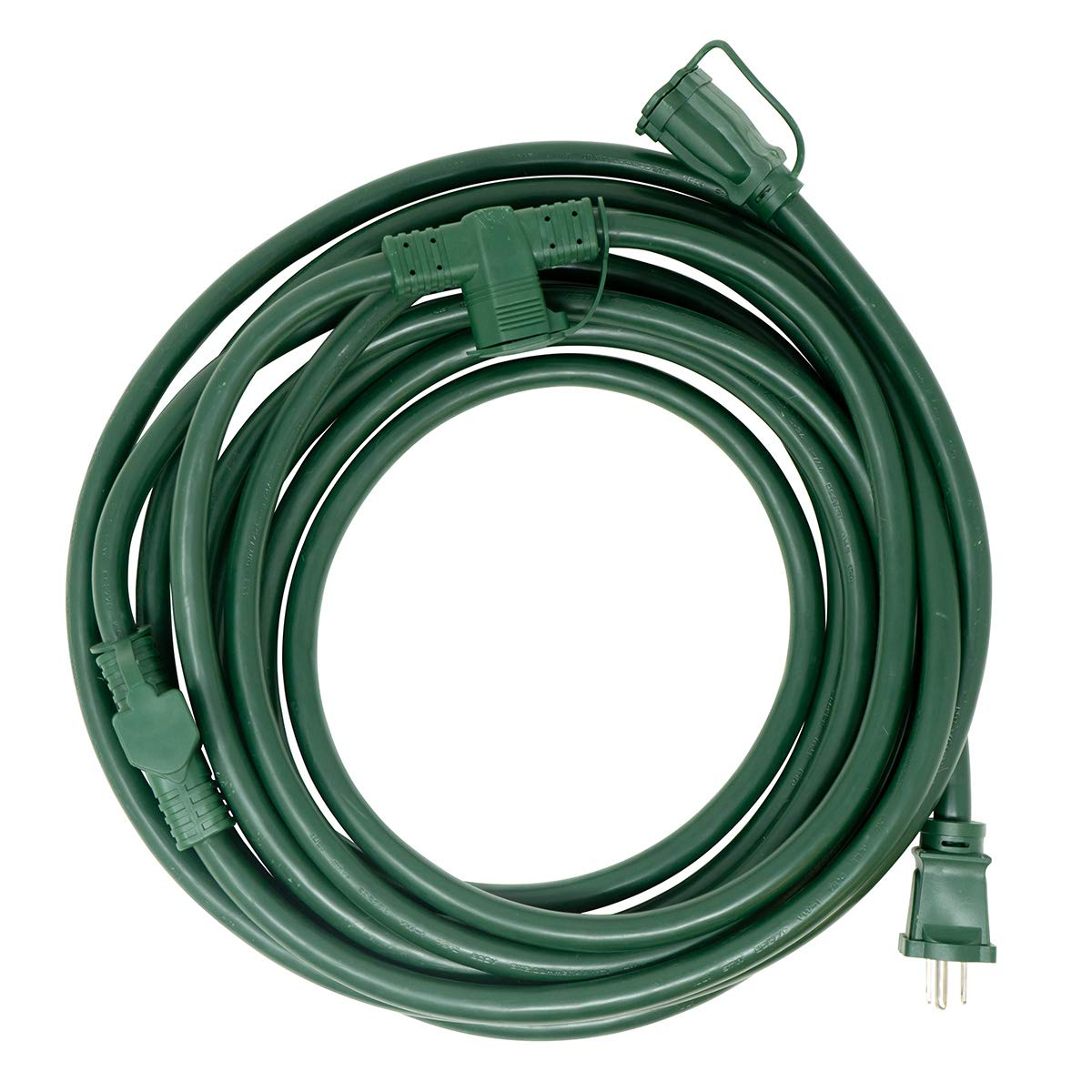 Woods 3030 Yard Master Outdoor Extension Cord with Evenly-Spaced Plugs and 3 Outlets 25 Ft Green