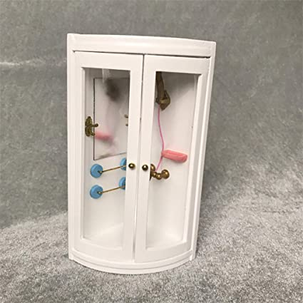 Doll House Miniature Furniture Wooden Bathroom Shower Room Accessories 1:12 Toy