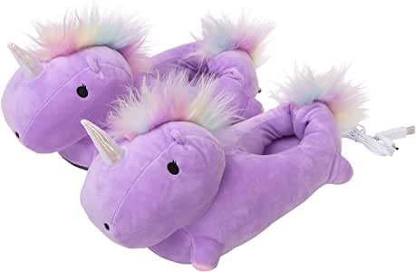 Smoko Adorable Plush Unicorn Heated Foot Warmer Slippers
