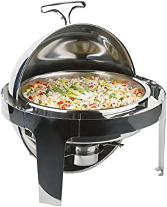 Stainless Steel Top-Grade Round Clamshell Buffet Stove Chafer Dishes– Includes Food Pan, Water Pan– Durable, shiny silver, keeps food warm in catered events