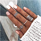 Edary Vintage Pattern Rings Set Floral Knuckle Rings Silver Rings for Women and Girls.(4PCS/Set)