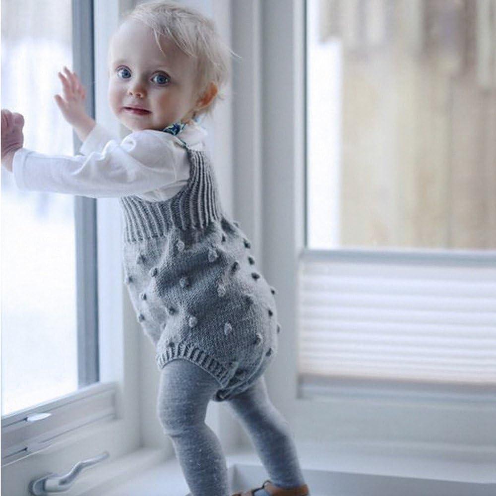 erthome Herbst Baby Kinder M/ädchen Strampler Gestrickte Overalls Kleine B/älle Overall