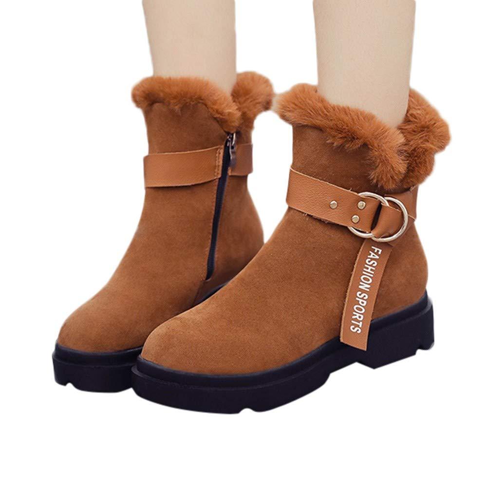 Bottes de Neige Femme, Manadlian Bottines Plates Fourré es Boots Hiver Femme Boucle Bottes Chaussures Courtes Plates Doublure Chaude Bottines