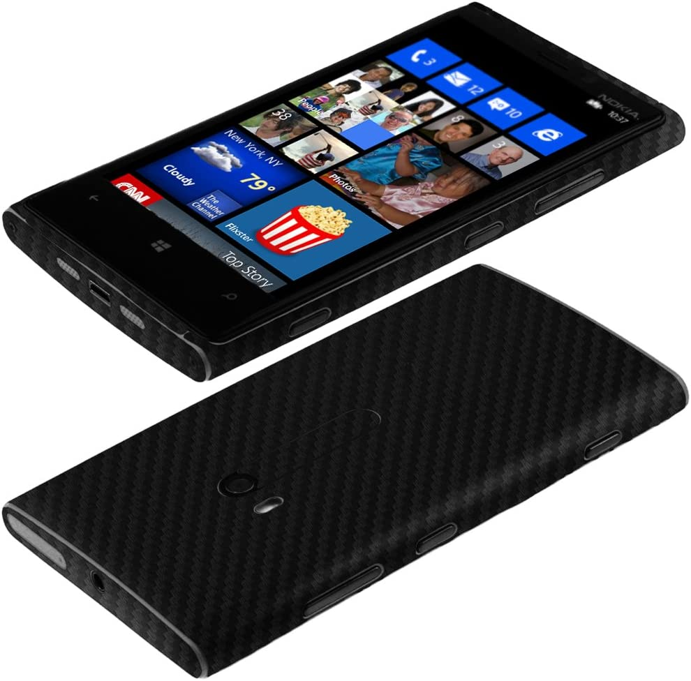Full Coverage TechSkin with Anti-Bubble Clear Film Screen Protector Skinomi Black Carbon Fiber Full Body Skin Compatible with Nokia Lumia 920