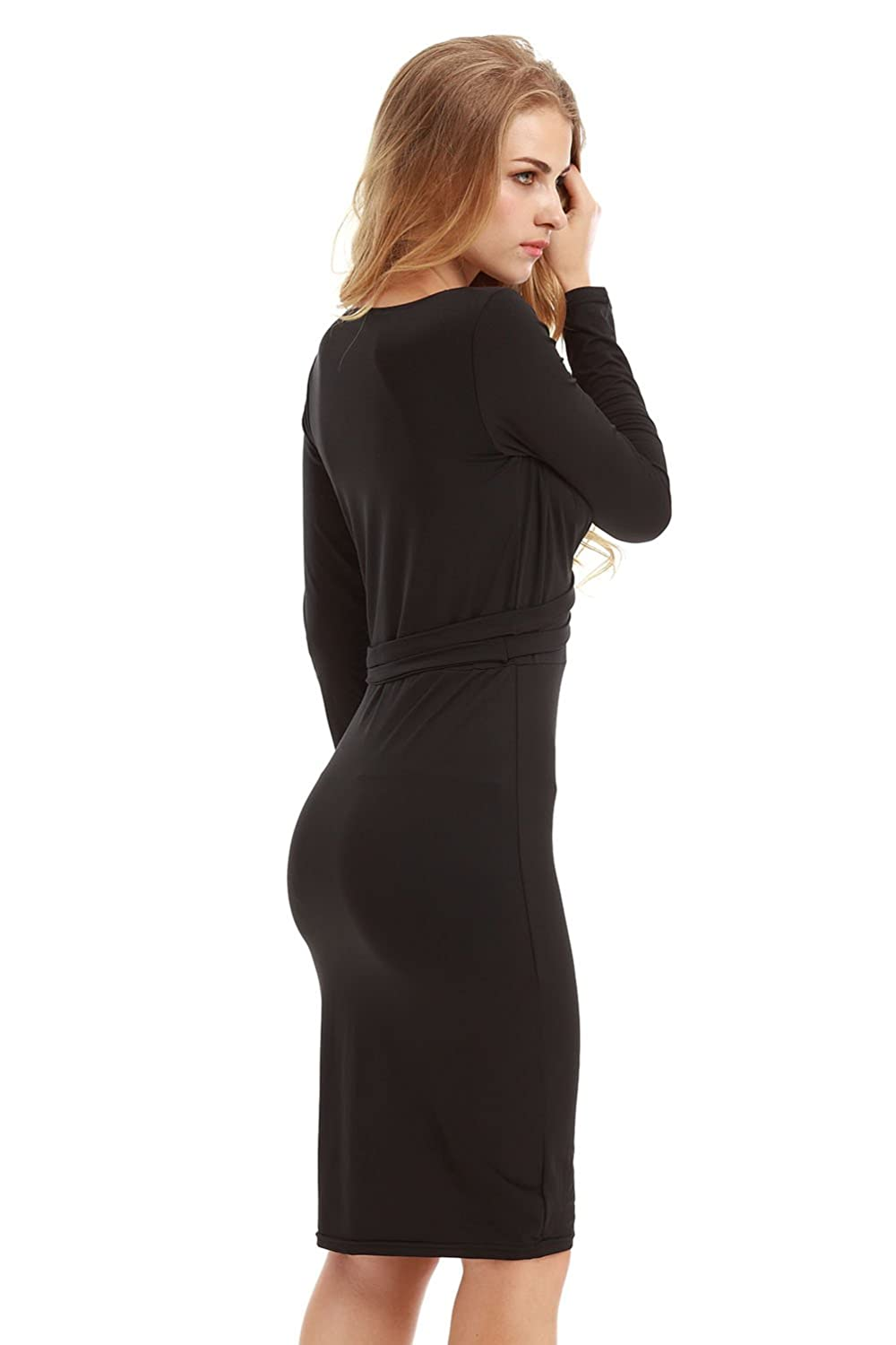 TeeDoc Women Long Sleeve Plunging Neck Stretch Bodycon Party Bandage Dresses