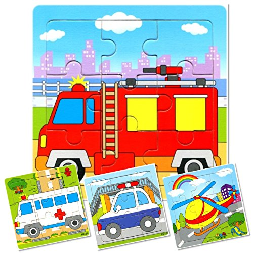 Set of 4: 9 Piece Wooden Emergency 911 Vehicles Puzzles. Kids Colorful Educational Jigsaws include Fire Truck, Ambulance, Police Car and Helicopter. For preschoolers over 3 years, by INTELLITOYZ