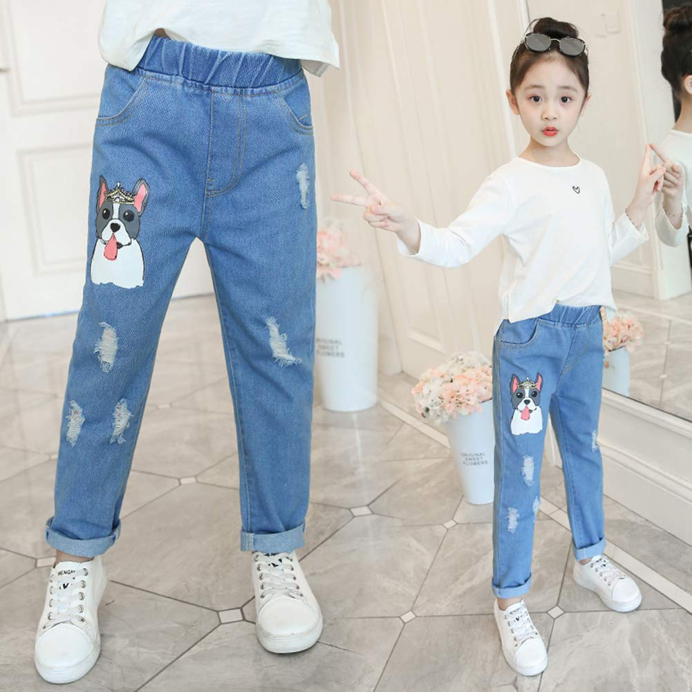 Sitmptol Big Girls Kids Pull on Skinny Jean Cute Dog Printed Teens Denim Pants Blue