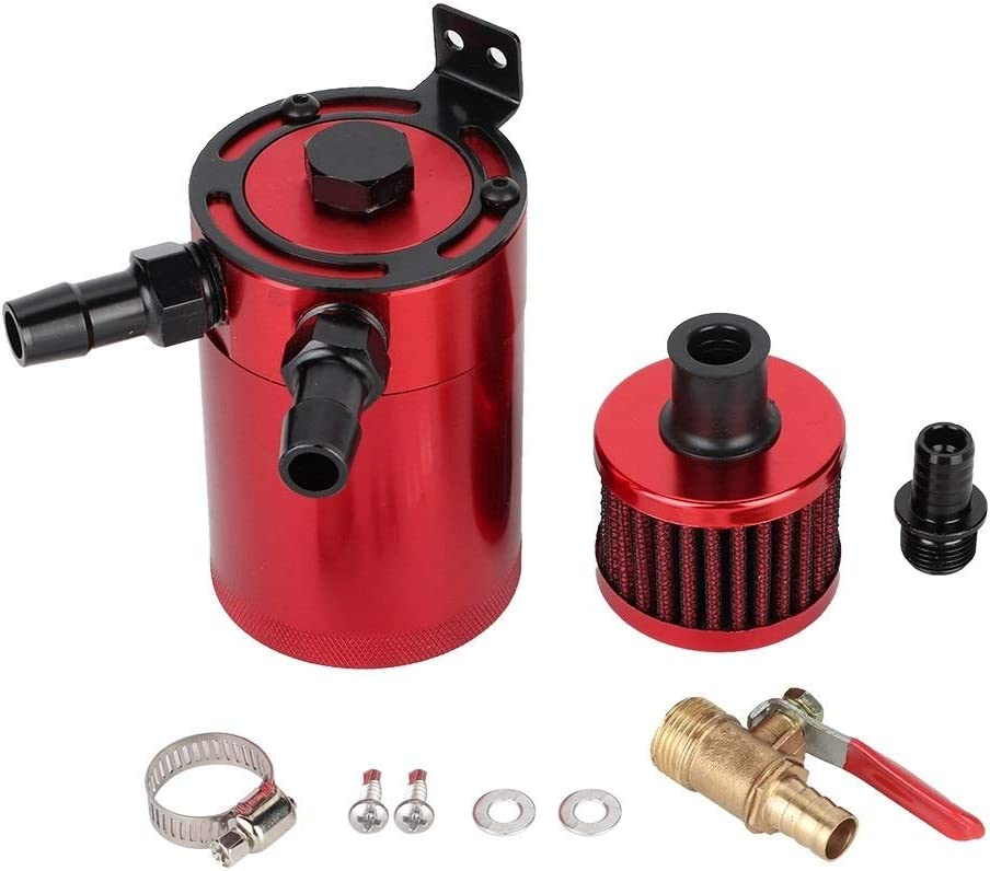 Red KSTE Universal Aluminum Alloy Oil Tank Reservoir Catch Can with 2 Port Accessory Kit