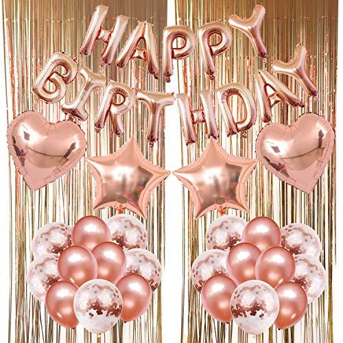 ZERODECO Rose Gold Balloons Decorations, Bday Metallic Foil Happy Birthday Balloon, Fringe Shiny Curtains, Star Balloons, Heart Balloons, Confetti Balloons, Latex Balloons for Birthday Party Ceremony