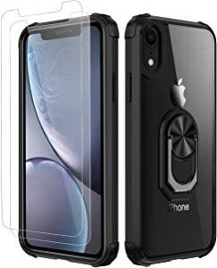 Amuoc iPhone XR Case,[ Military Grade ] with [ Glass Screen Protector] 15ft. Drop Tested Protective Case | Kickstand | Compatible with Apple iPhone XR Case -Black