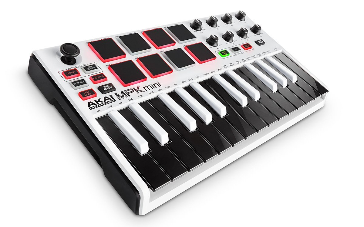 Akai Professional MPK MINI MK2 MKII | 25-Key Ultra-Portable USB MIDI Drum Pad & Keyboard Controller (White)+ 4-Port USB 2.0 Hub + High Speed USB Extension Cable + Clean Cloth by Akai (Image #2)