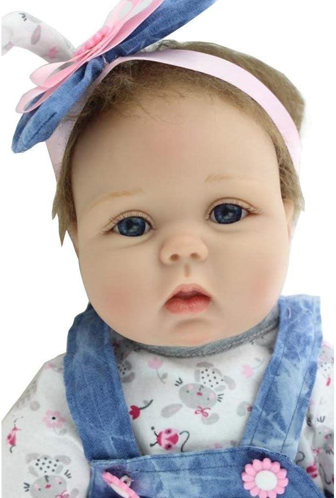 MAIHAO Reborn Babypuppe Realistische Puppe Reborn Babys Lebensecht Puppen M/ädchen Silikon Blau Outfit 55 cm