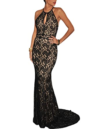 499ae795a55 Amazon.com  made2envy Elegant Lace Nude Illusion Open Back Evening Gown   Clothing