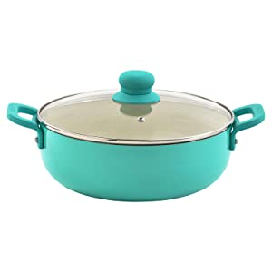 IMUSA USA CHI-80699 Caldero with Glass Lid Ceramic Interior 6.9-Quart, Teal