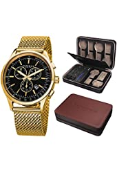 Akribos XXIV Men's AK625YGB Round Black Dial Chronograph Quartz Stainless Steel Bracelet Watch + Gift Box