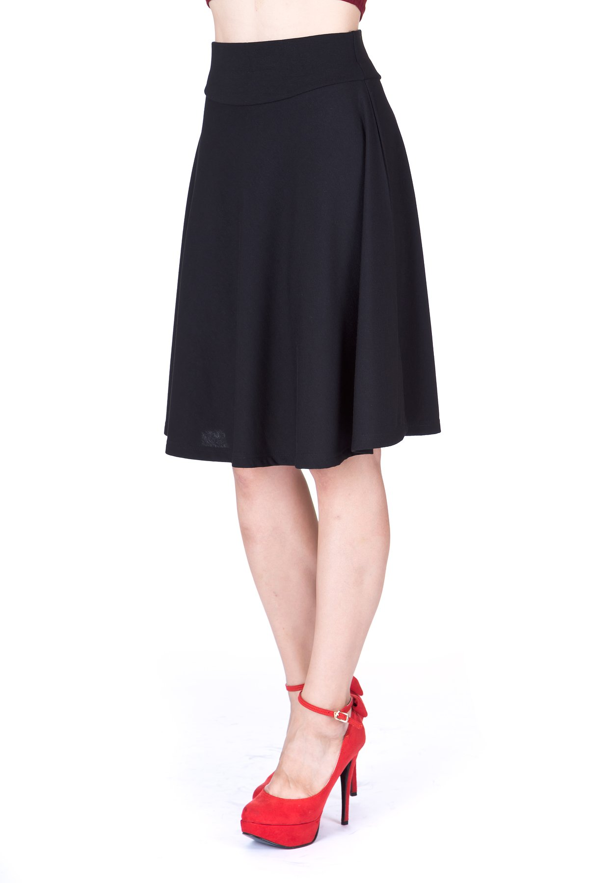 Impeccable Elastic High Waist A-line Full Flared Swing Skater Knee Length Skirt (M, Black) by Dani's Choice (Image #2)