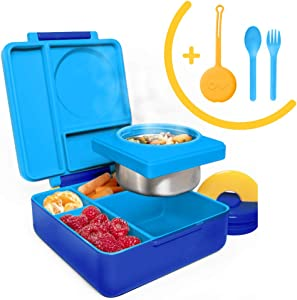 OmieBox Bento Box for Kids Insulated Bento Lunch Box with Leak Proof Thermos Food Jar, 3 Compartments + Blue Utensil Set with Case