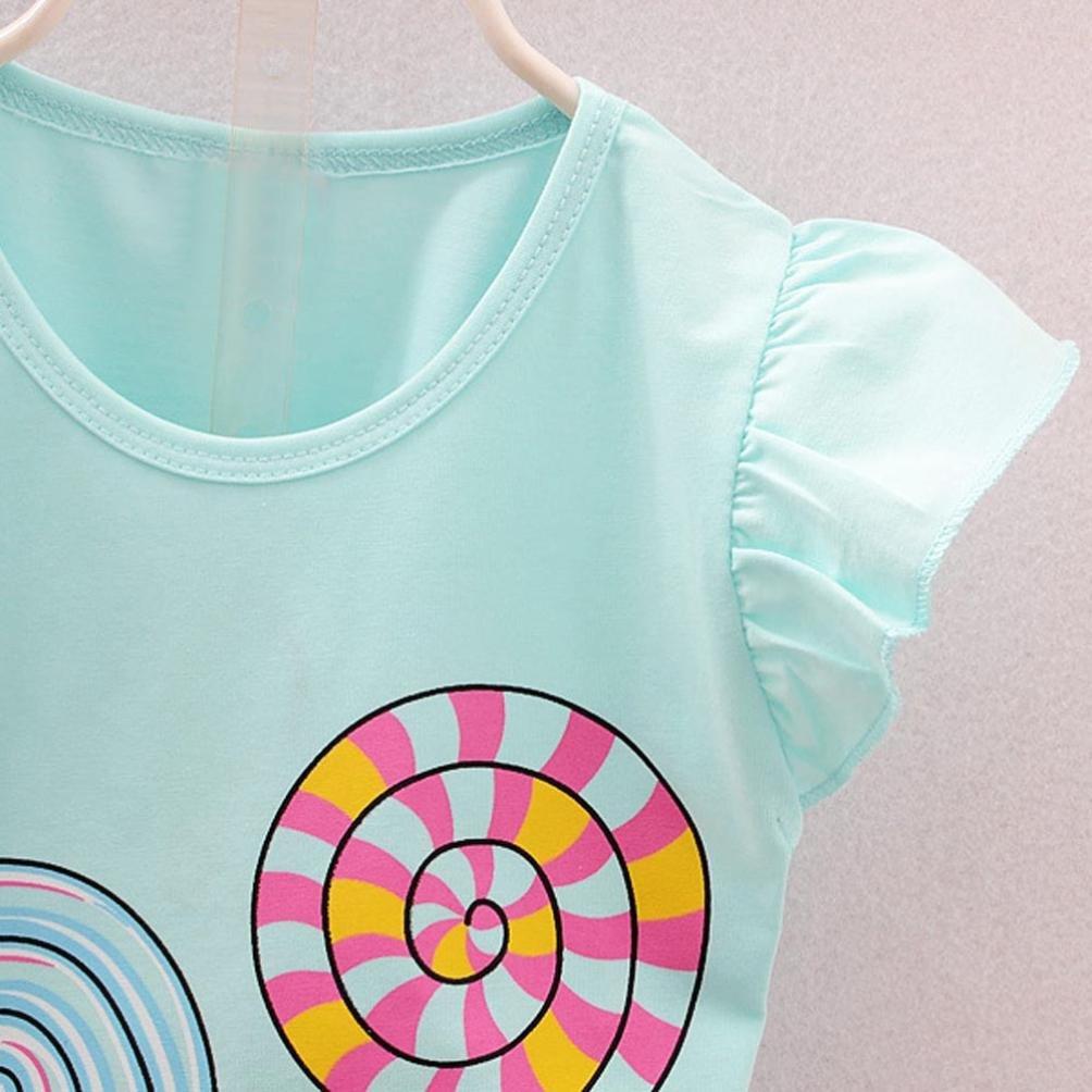 Voberry 2PCS Toddler Kids Baby Girls Lollypop T-Shirt Tops Floral Short Pants Set
