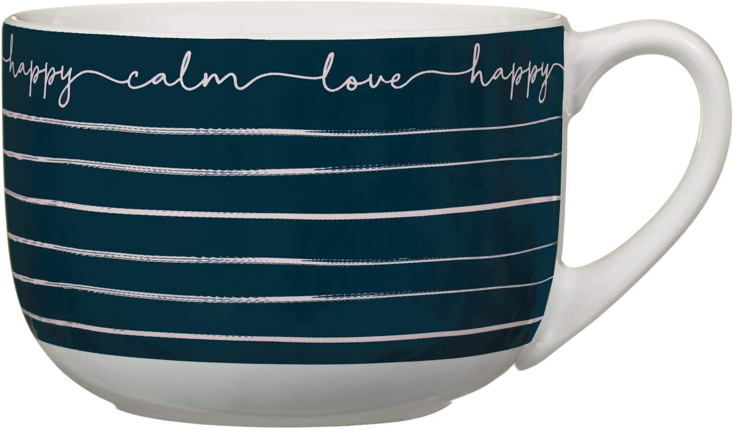 Giant Mug Marshmallows and Hot Chocolate Tiered Gift Set Blue with Gold Stripes