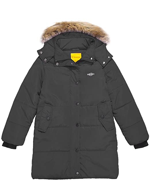104ac531fb89 Wantdo Girl s Winter Coat Thick Padded Long Winter Jacket Parka with ...