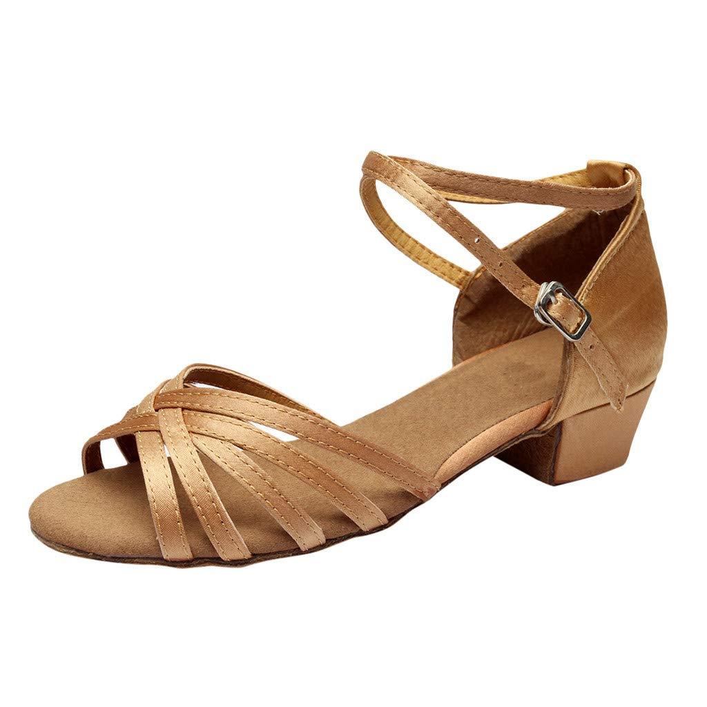 Duseedik Women's Dancing Sandals Summer Rumba Waltz Prom Ballroom Latin Salsa Party Outdoor Shoes Khaki