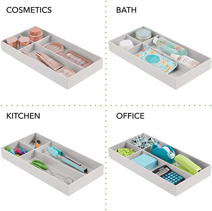 Pratico organizer ufficio con 4 scomparti grigio chiaro Separatore cassetto in plastica senza BPA per scrivanie e cassettiere mDesign Divisorio cassetto regolabile