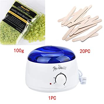 Wax Warmer Machine Kit - Electric Hair Removal Bean/Wiping Sticks/Hot Wax Warmer Heater Pot