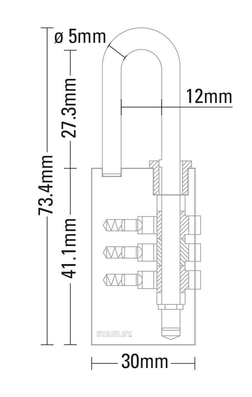 STANLEY Cadenas laiton solide /à combinaison 40mm 4 chiffres S742-053