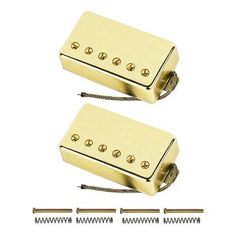 FLEOR Alnico V Electric Guitar Humbucker Pickup Set Bridge & Neck Pickups  Golden for Gibson Les Paul Style Guitar
