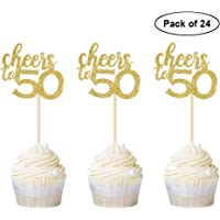 24PCS Gold Glitter Cheers to 50 Cupcake Toppers 50th Birthday Anniversary Cake Toppers 50 Party Themes Decoration Supplies