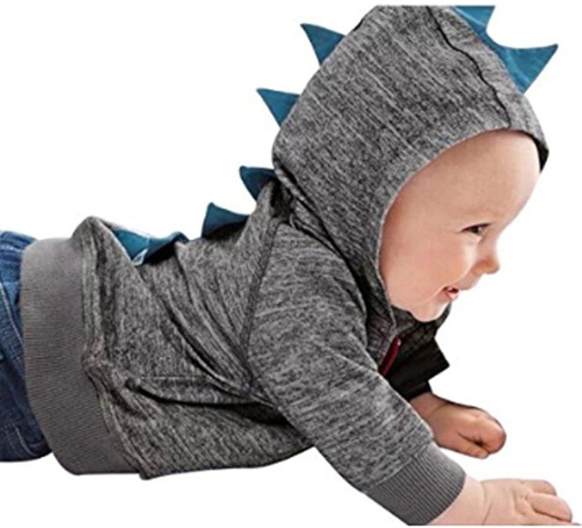 MIMIYA Baby Boys Long Sleeve Dinosaur Hoodies Zip-up Sweatshirt Coat