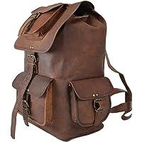 "SC Leather 15"" Genuine Leather Rucksack Backpack Hiking Travel Picnic Everyday Backpack School Drawstring Women Rucksack Great Gift Sale!"