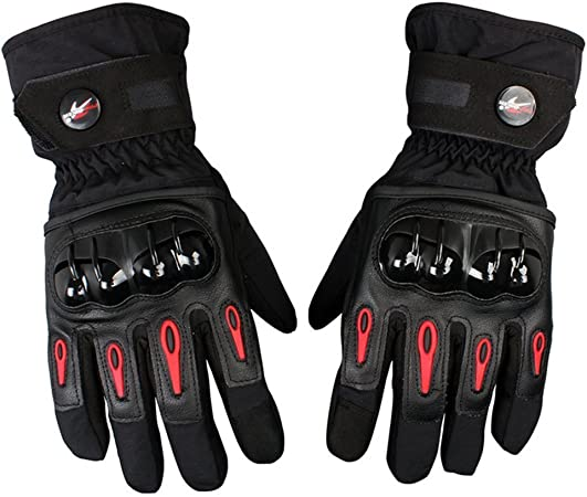 -10/° C 3M Thinsulate Guanti Moto Invernali Guanti Moto Uomo Antivento Impermeabile Touch Screen Noir Rosso