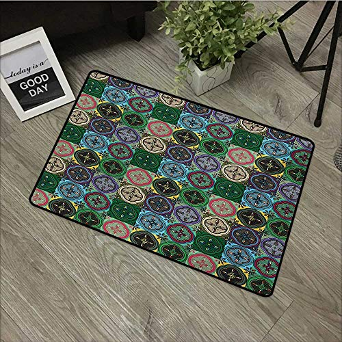 - Moses Whitehead Indoor Outdoor Floor Mats Colorful,Pattern of Abstract Shapes Inspired by Stained Glass Style Traditional Vibrant,Multicolor,for Indoor Outdoor Easy Clean Entry Way,20