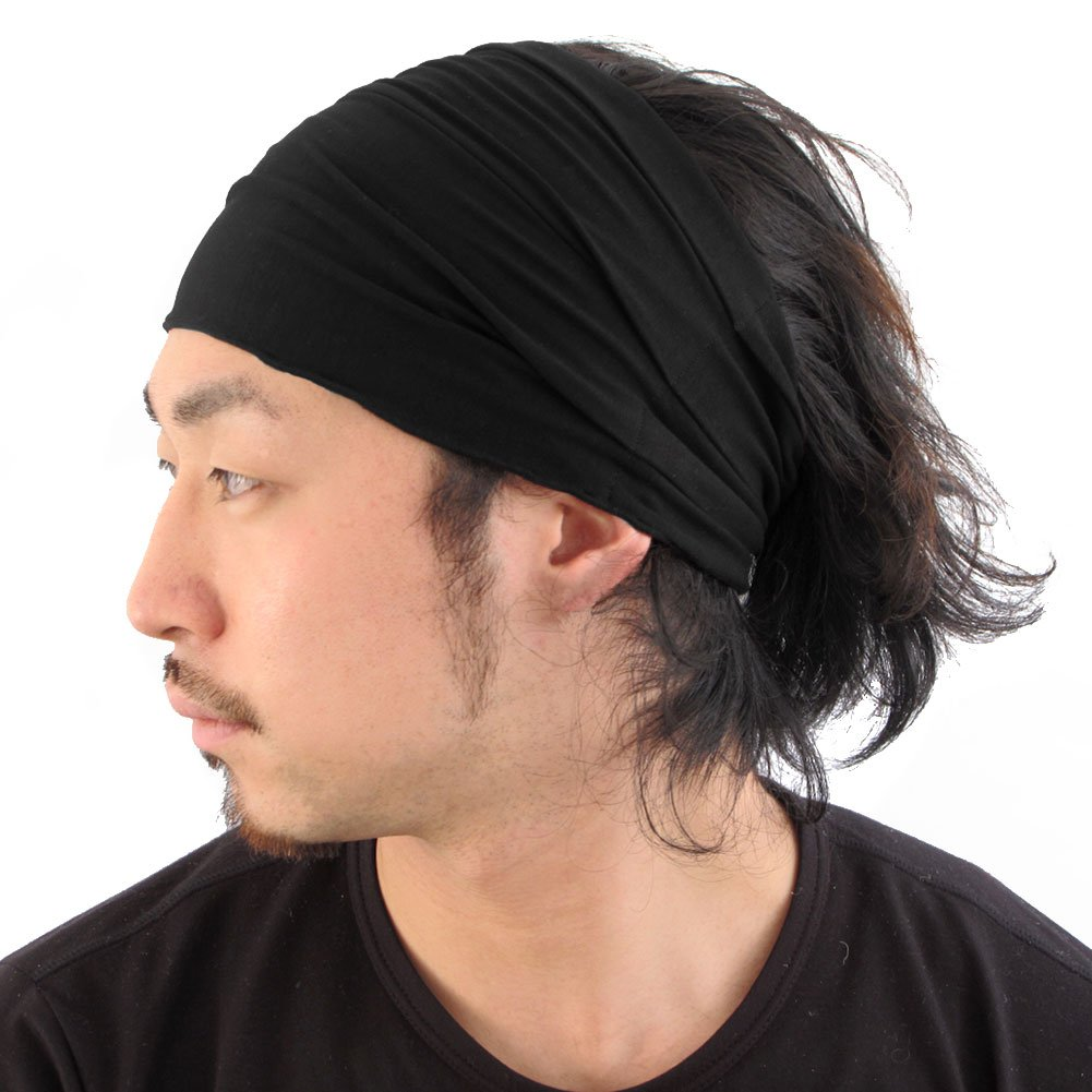 Black Japanese Bandana Headbands for Men and Women – Comfortable Head Bands with Elastic Secure Snug Fit Ideal Runners Fitness Sports Football Tennis Stylish Lightweight L by CCHARM (Image #1)