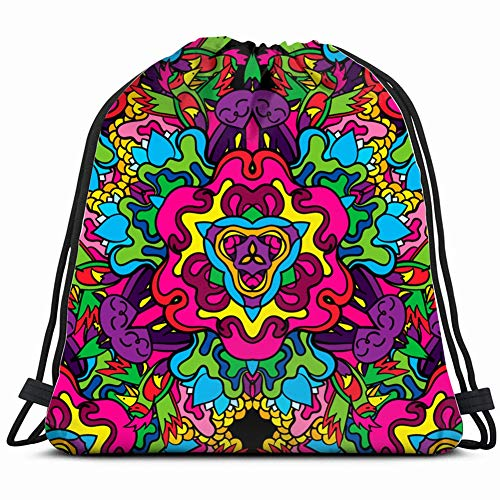 60 hippie psychedelic art trippy Drawstring Backpack Gym Sack Lightweight Bag Water Resistant Gym Backpack for Women&Men for Sports,Travelling,Hiking,Camping,Shopping Yoga