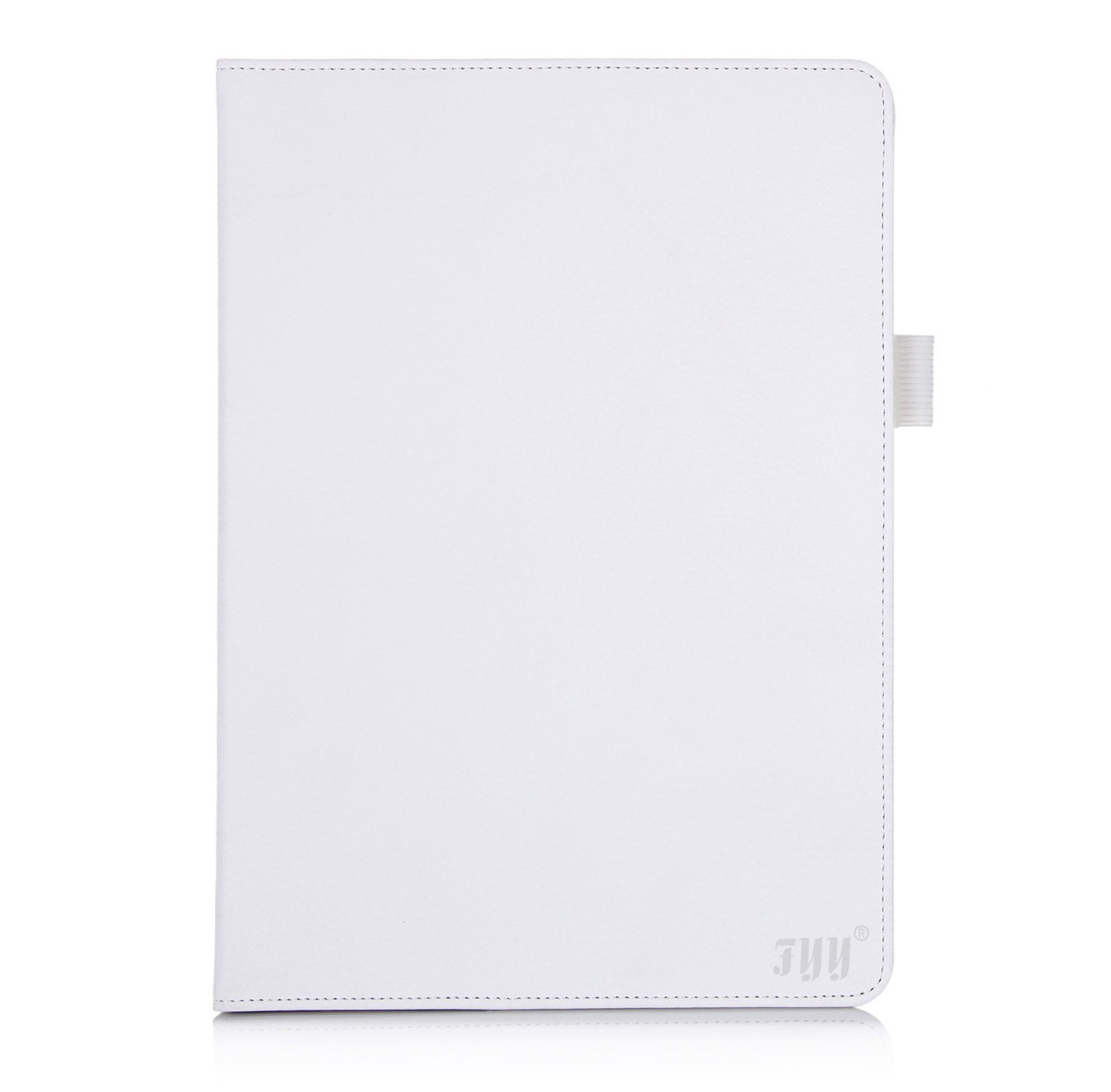 FYYCase for Apple iPad Air - Premium Leather Case Smart Cover with Card Slots, Pocket, Elastic Hand Strap and Stylus Holder for Apple iPad 5 (Apple iPad Air 2013) White (With Auto Wake/Sleep Feature)