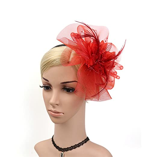 Sunbobo Donna Elegante Fascinator Cappello da Sposa Piuma Hairband Headwear  Fiore Accessori per Capelli Cocktail Royal Ascot Clip Tea Party Headwear per  ... ba99e0273438