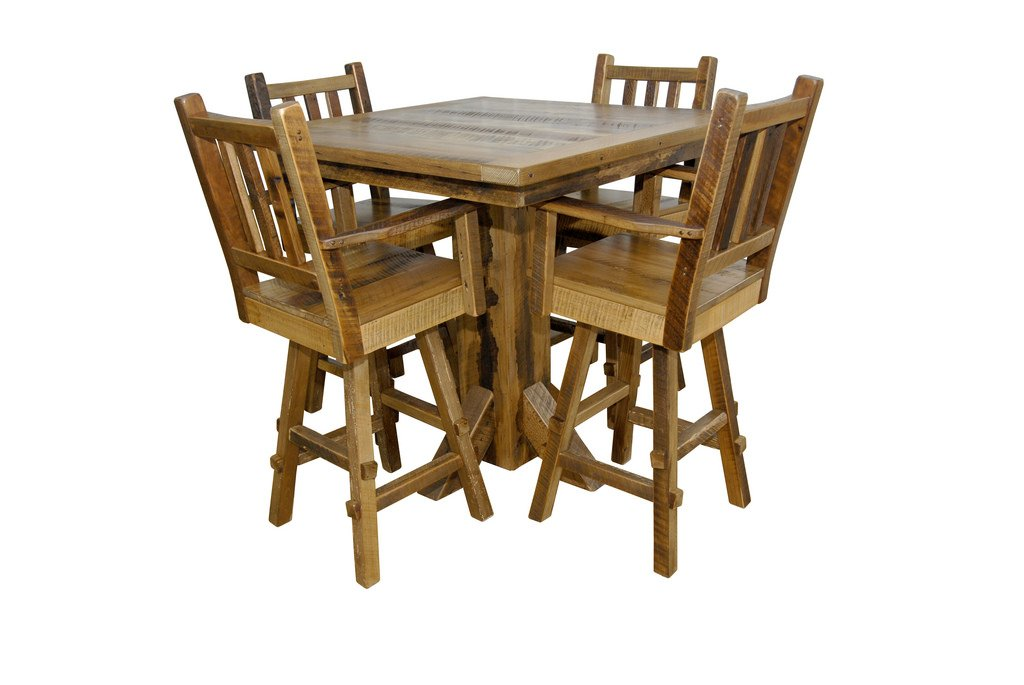 Reclaimed Barn Wood Pedestal Pub Table with 4 Stools in Counter Height -Urban Distress