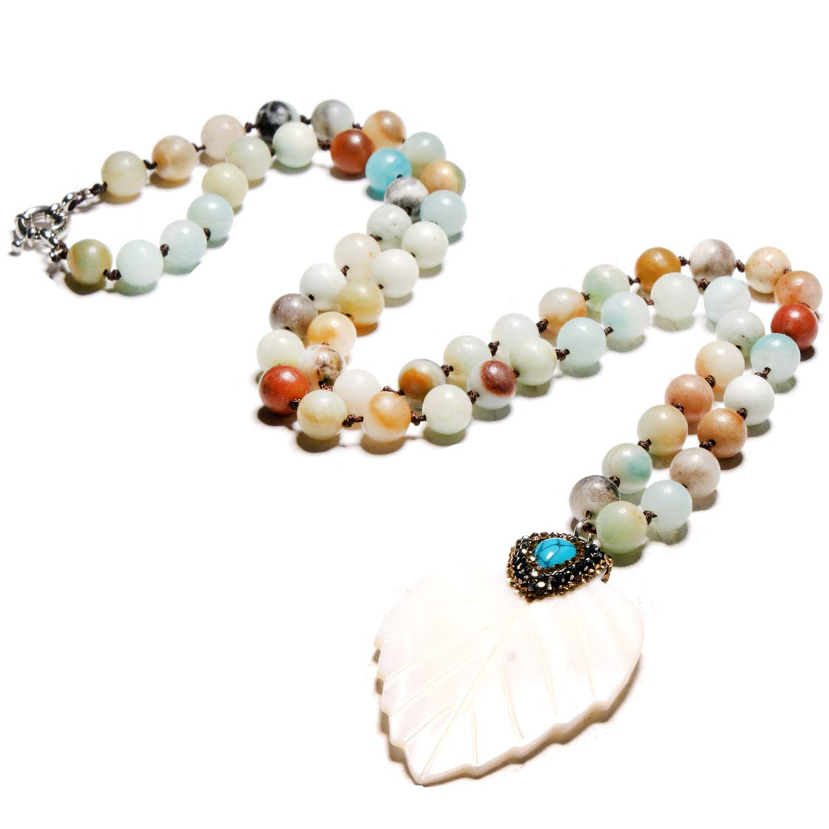SEVENSTONE 8mm Natural Matte Amazonite Beads Necklace Women Men Handmade Long Necklace For Prayer Meditation Yoga
